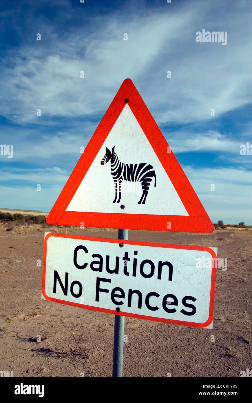 traffic sign, cution zebras, no fences, Namibia - Stock Image
