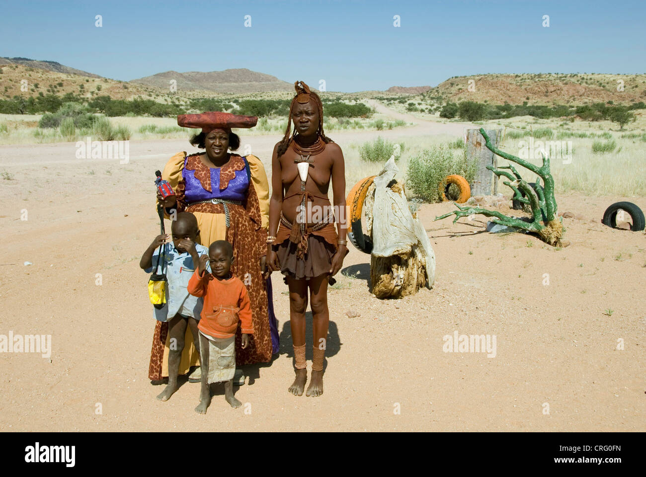 Herero and Himba in the Damara Land, Namibia - Stock Image