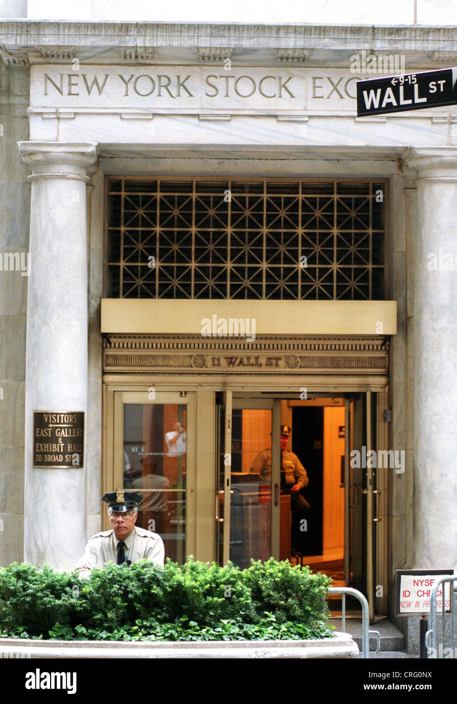 New York USA guarded entrance to the NYSE & New York USA guarded entrance to the NYSE Stock Photo: 48909670 ...