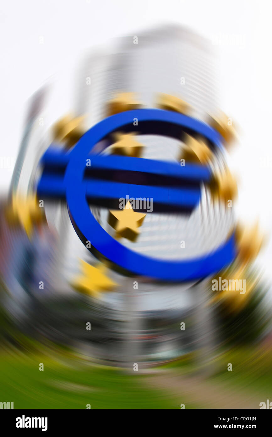 EURO crisis - European Central Bank (ECB) with the Euro sign outside in Frankfurt (Main) - Stock Image