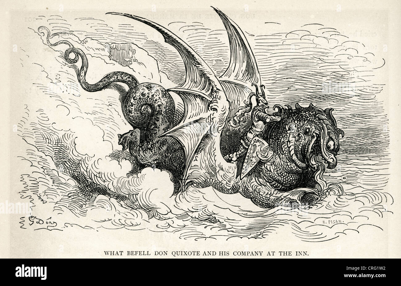 Knight and the Sea Monster. Illustration by Gustave Dore from Don Quixote. - Stock Image