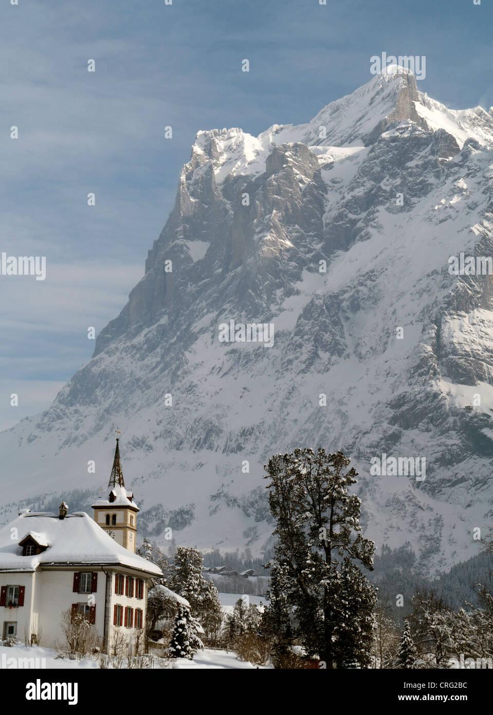 Grindelwald skiing region in Interlaken-Oberhasli Switzerland Eiger mountain Stock Photo