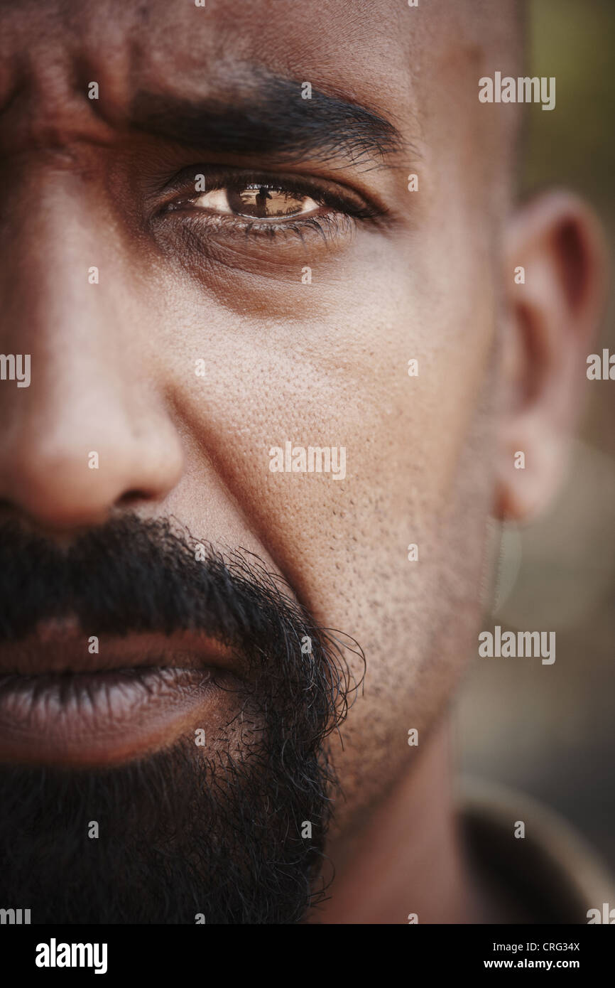 Close up of reflection in mans eye - Stock Image