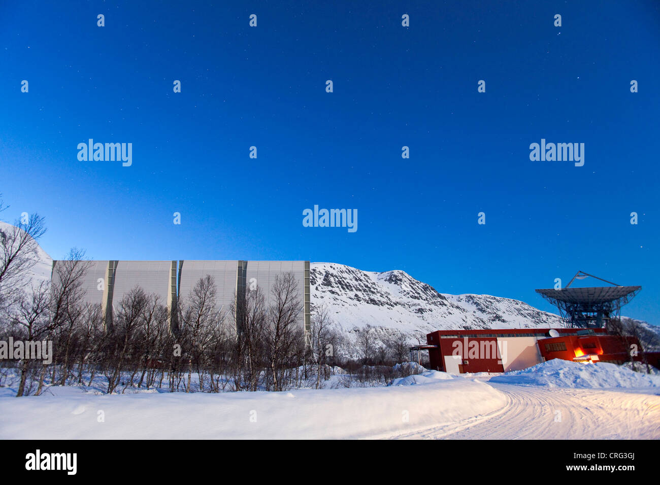 EISCAT antennas to research the atmosphere, Norway, Troms, Ramfjordmoen Stock Photo