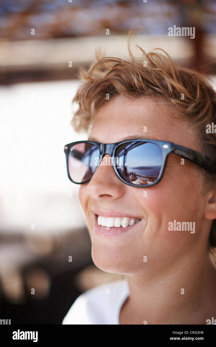 Close up of boys smiling face - Stock Image
