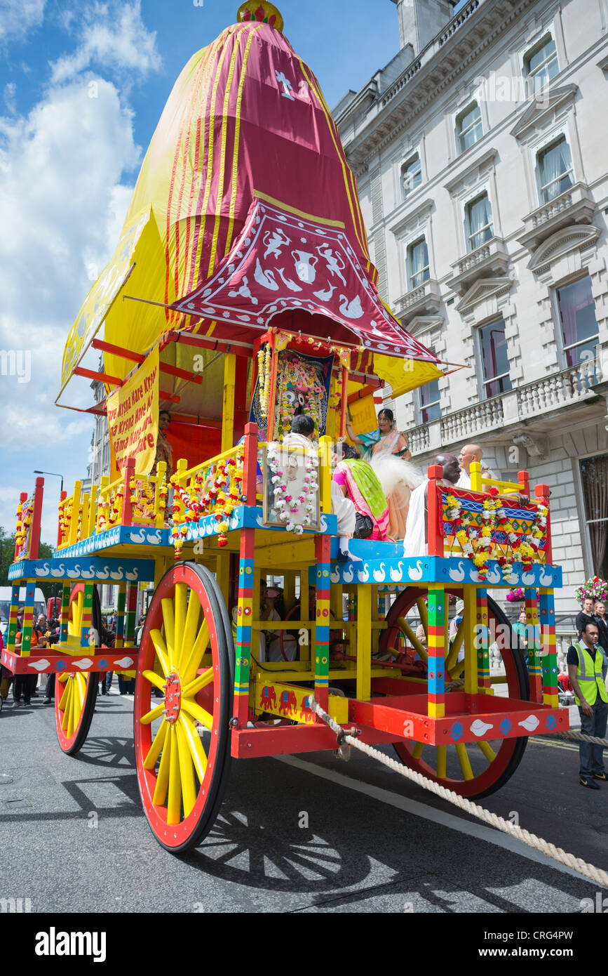 London, UK. 17 June, 2012. Rathayatra parade with large crowds of Hare Krishna followers in London. - Stock Image