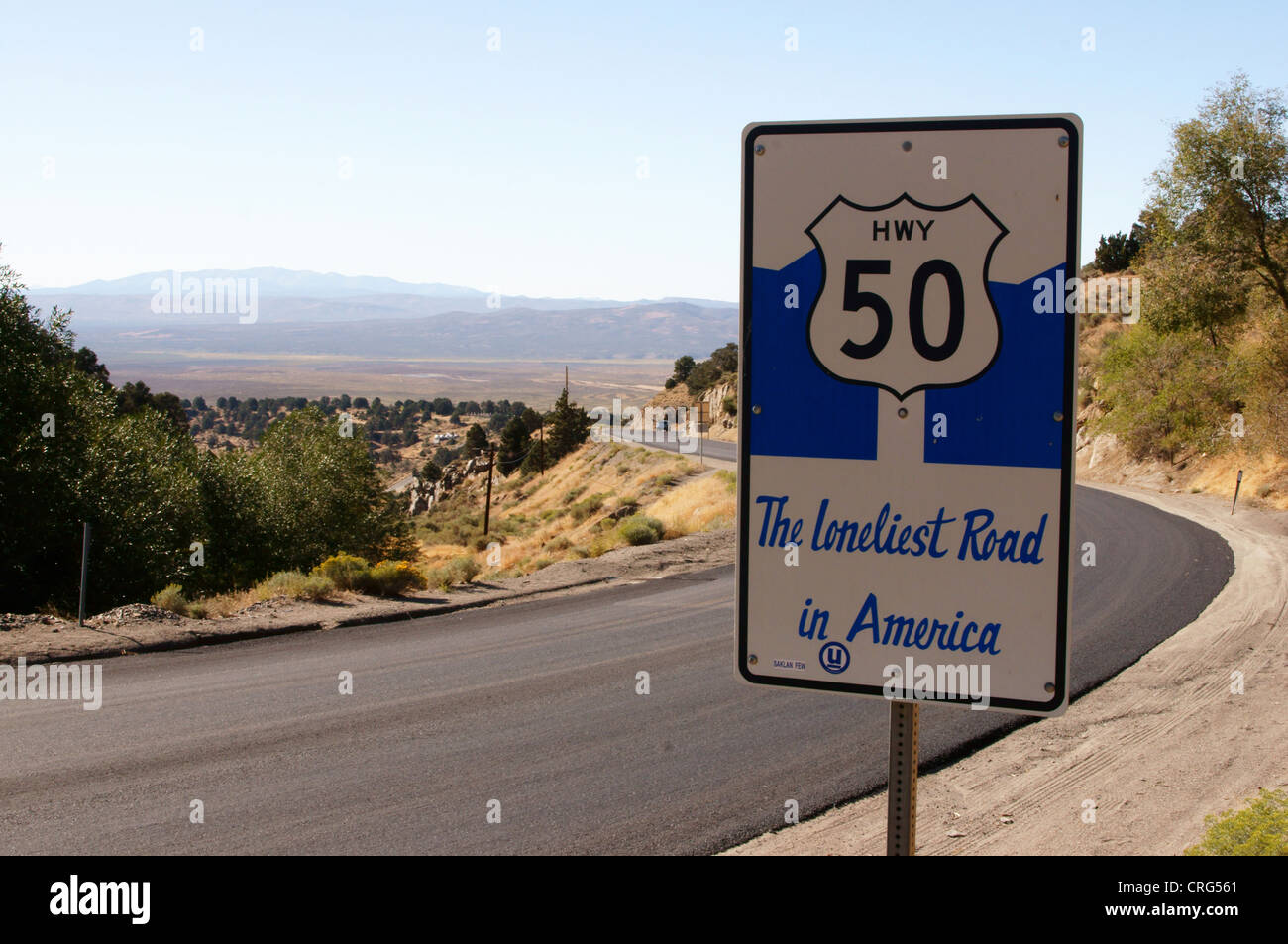 highway hiway 50 loneliest road in america nevada austin nv advice alarm alert caution distress signal example - Stock Image
