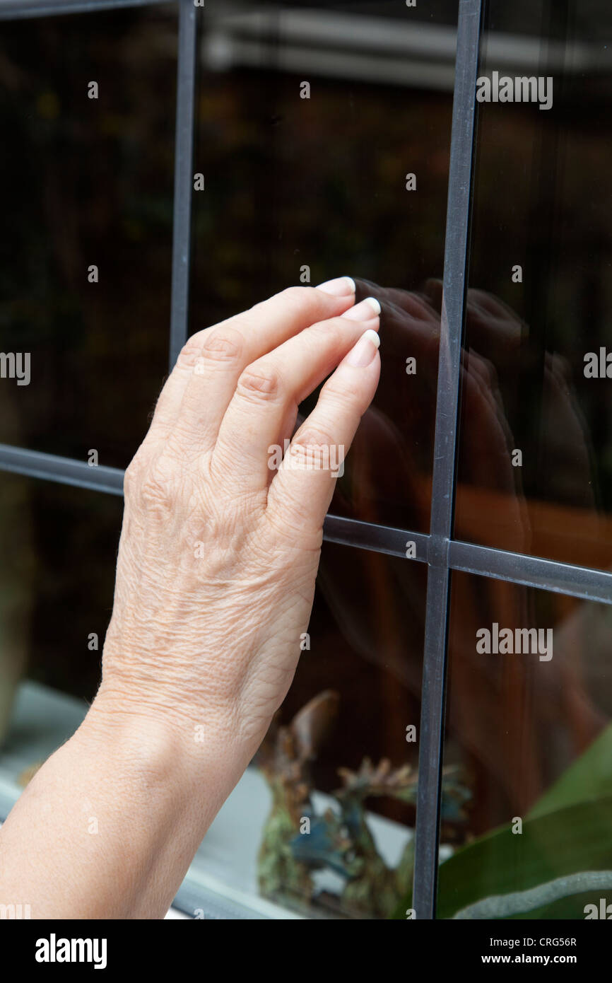 A fist tapping on a window - Stock Image