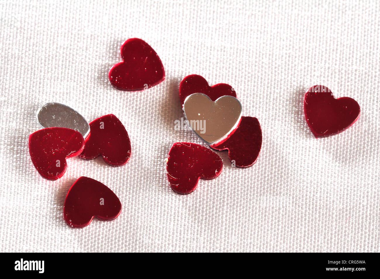 heart confetti St Valentine Valentine's day love - Stock Image