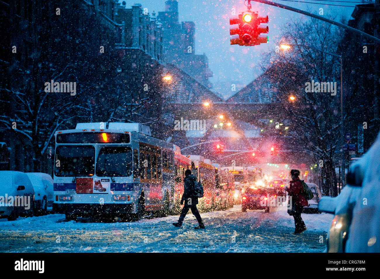An early morning snow storm in upper Manhattan. - Stock Image