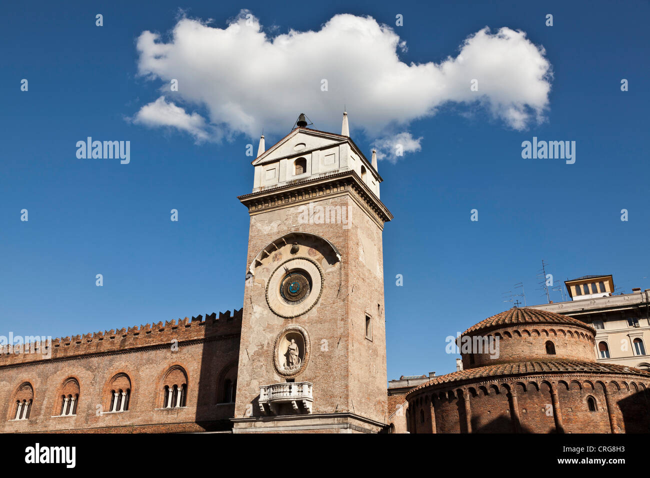 Ornate clock tower in town square - Stock Image