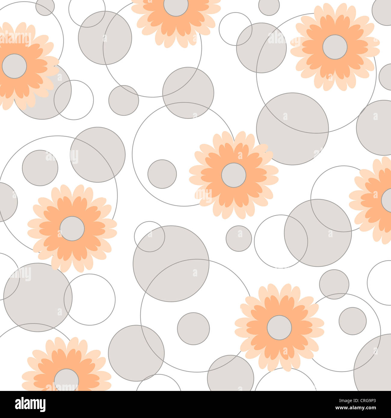 Floral and circles pattern on white Stock Photo