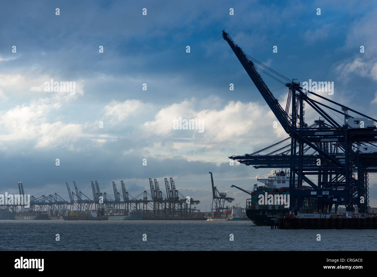Felixstowe Docks and Container port, Suffolk, England. - Stock Image