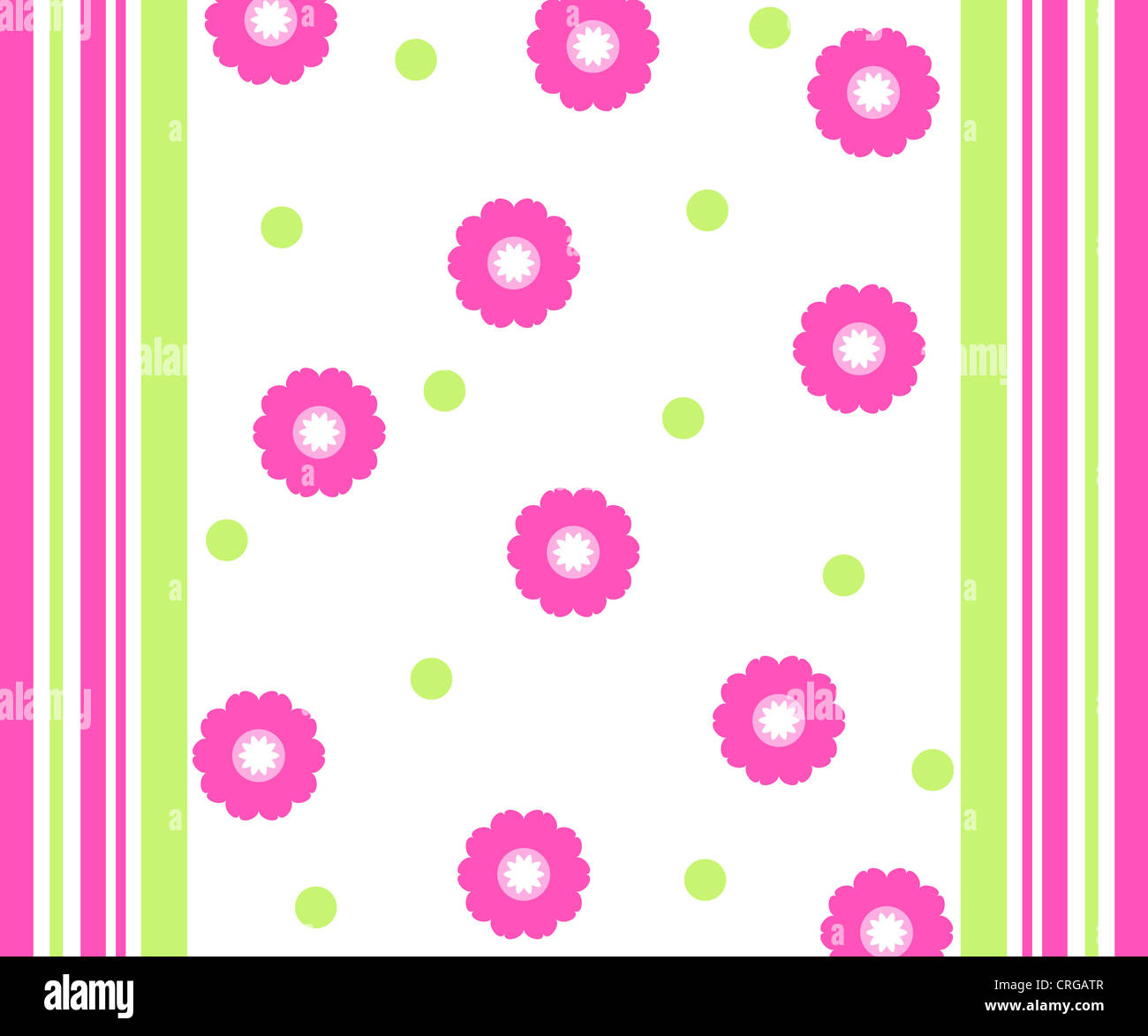 Stripes and floral pattern in pink and green colors Stock Photo