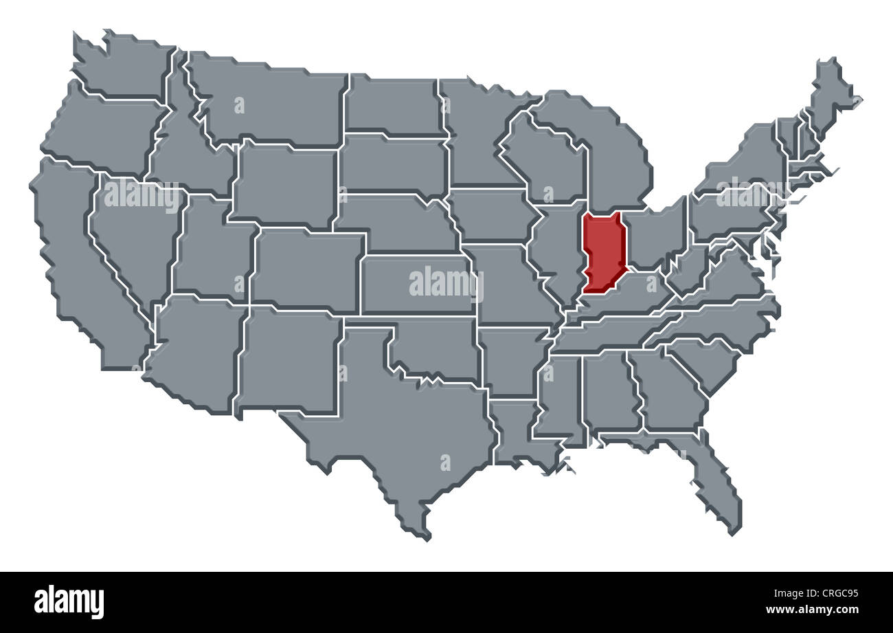 Political map of United States with the several states where Indiana ...