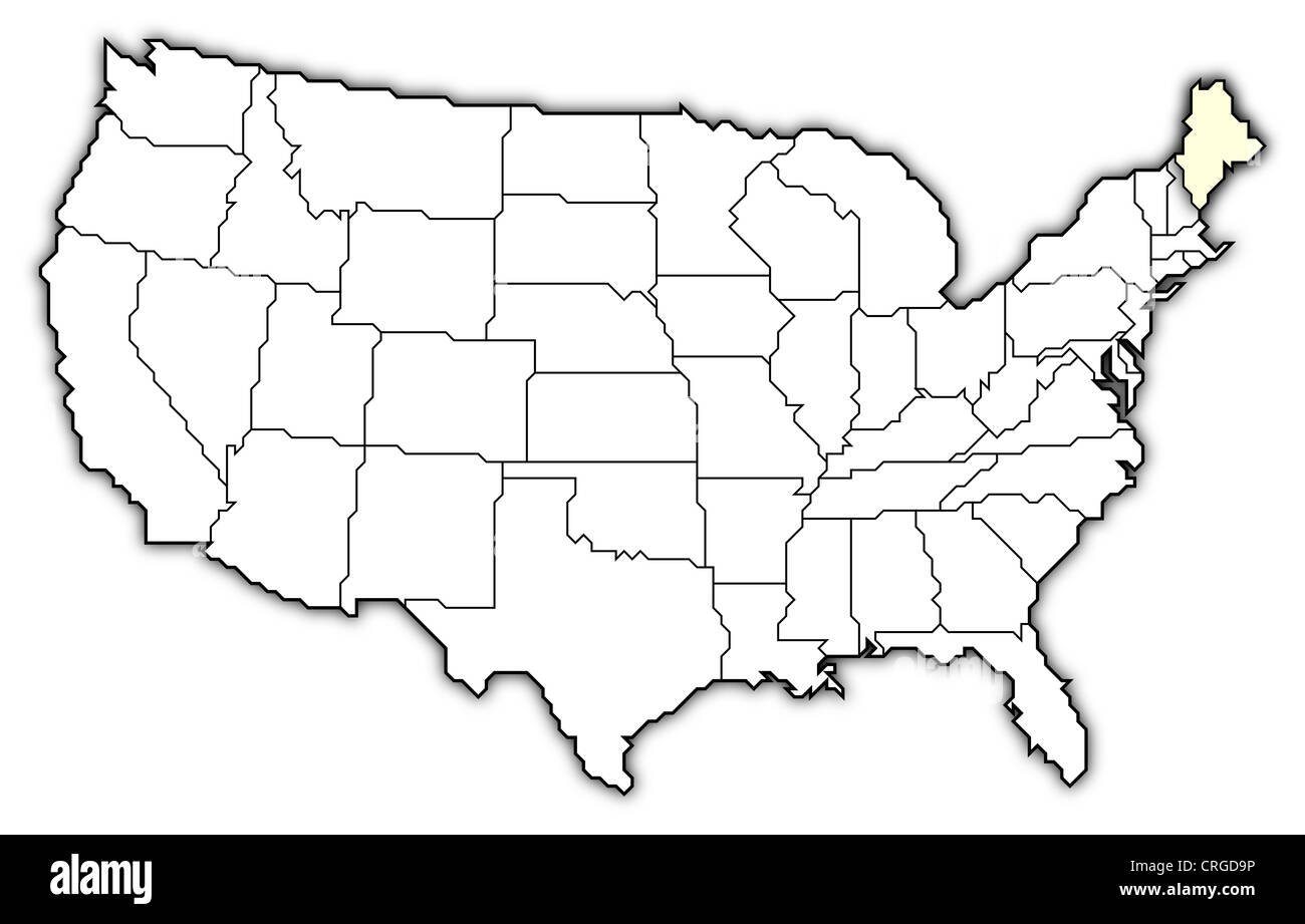 Political Map Of United States With The Several States Where Maine