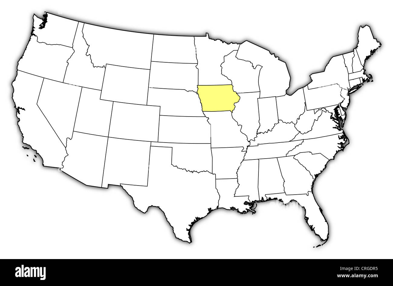 Where Is Iowa On The United States Map.Political Map Of United States With The Several States Where Iowa Is
