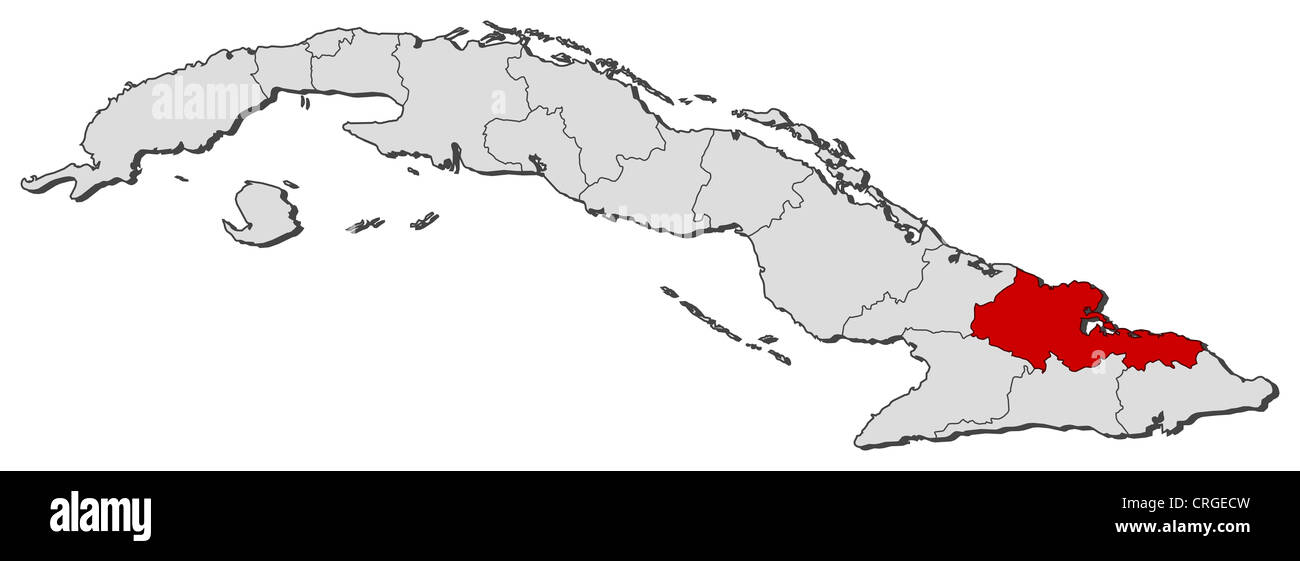 Political Map Of Cuba With The Several Provinces Where Holguin Is