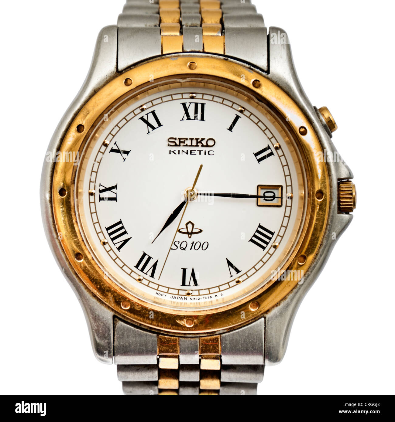 Vintage Seiko SQ100 Kinetic men's analogue wristwatch with date display - Stock Image