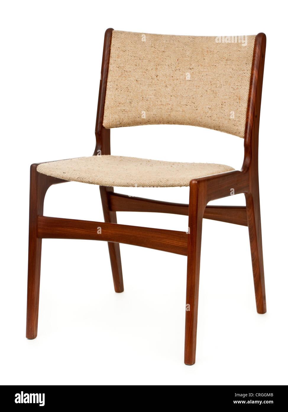 Vintage Danish modernist solid teak dining chair - Vintage Danish Modernist Solid Teak Dining Chair Stock Photo