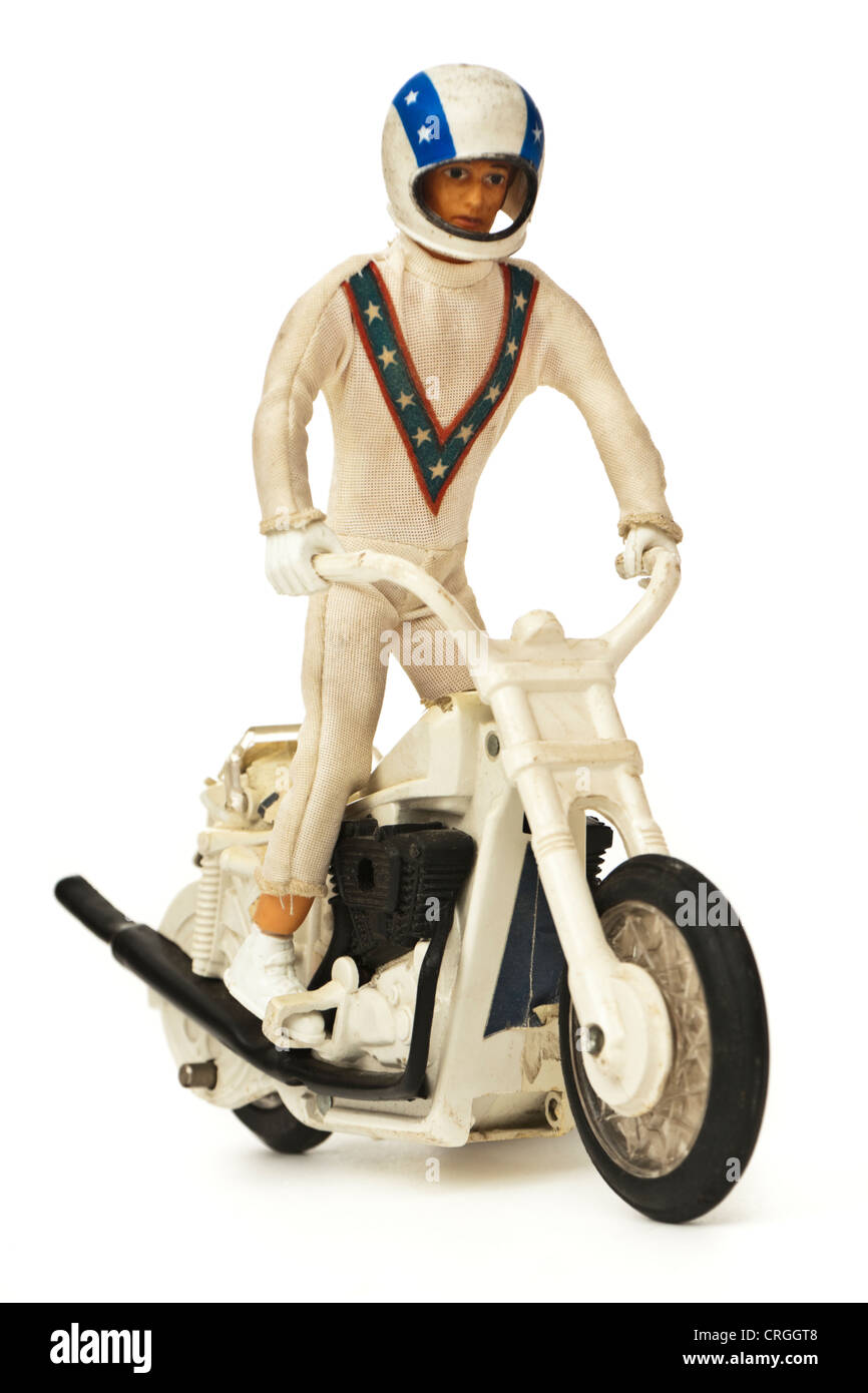 1970's Evel Knievel figure and stuntbike toy by Ideal - Stock Image