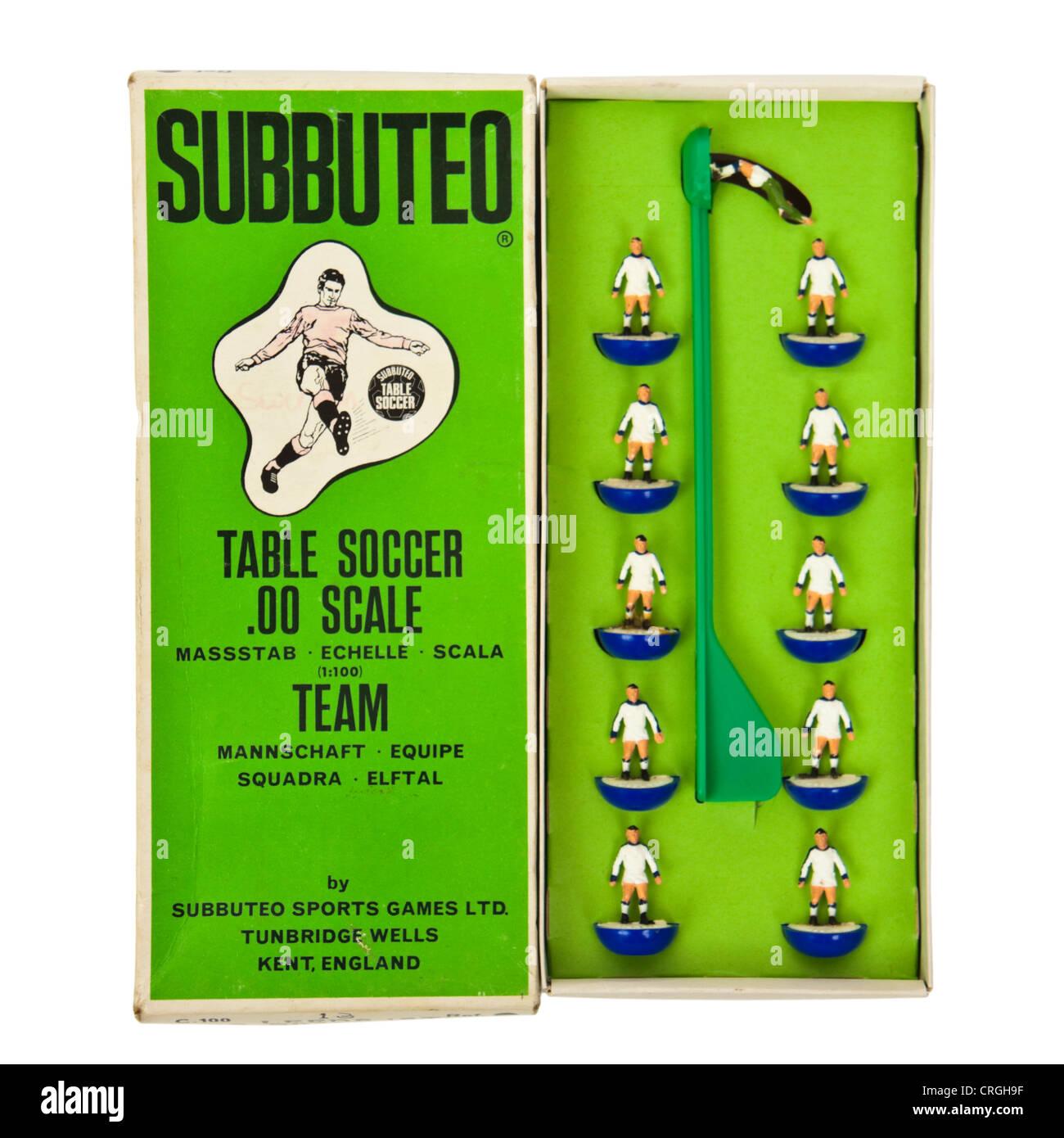 1970's Subbuteo football team - Leeds United (1st) heavyweight team (207) - Stock Image