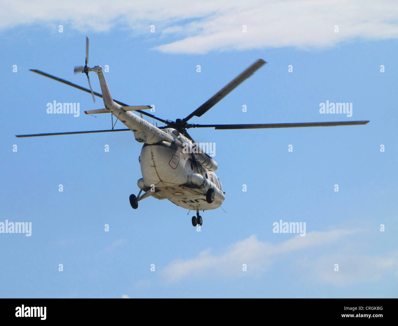 flying helicopter of the 'United Nations Stabilisation Mission in Haiti', Haiti, Grande Anse, Jeremie - Stock Image