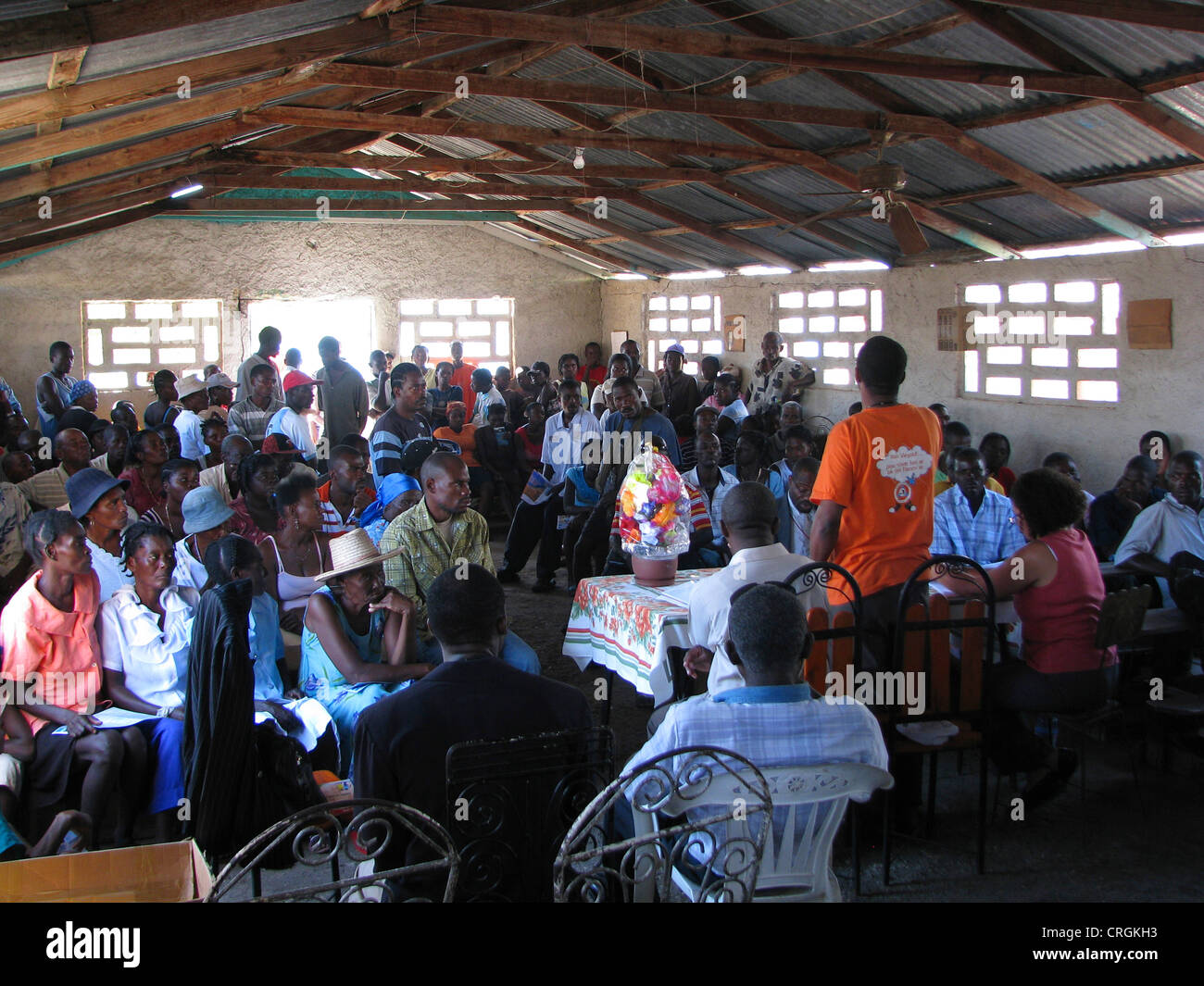 civil members of the 'United Nations Stabilisation Mission in Haiti' meeting with local population, Haiti, - Stock Image