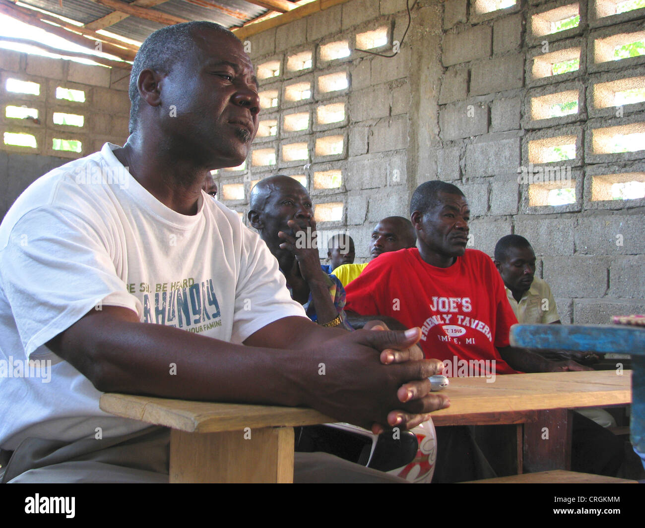civil personal of the 'United Nations Stabilisation Mission in Haiti' meeting local population at a school, - Stock Image