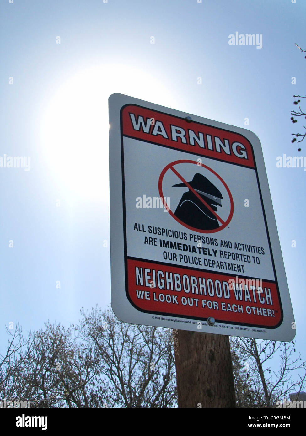 Plate warning criminals, neighbourhood watch - 'We look out for each other', USA, California, Santa Cruz - Stock Image