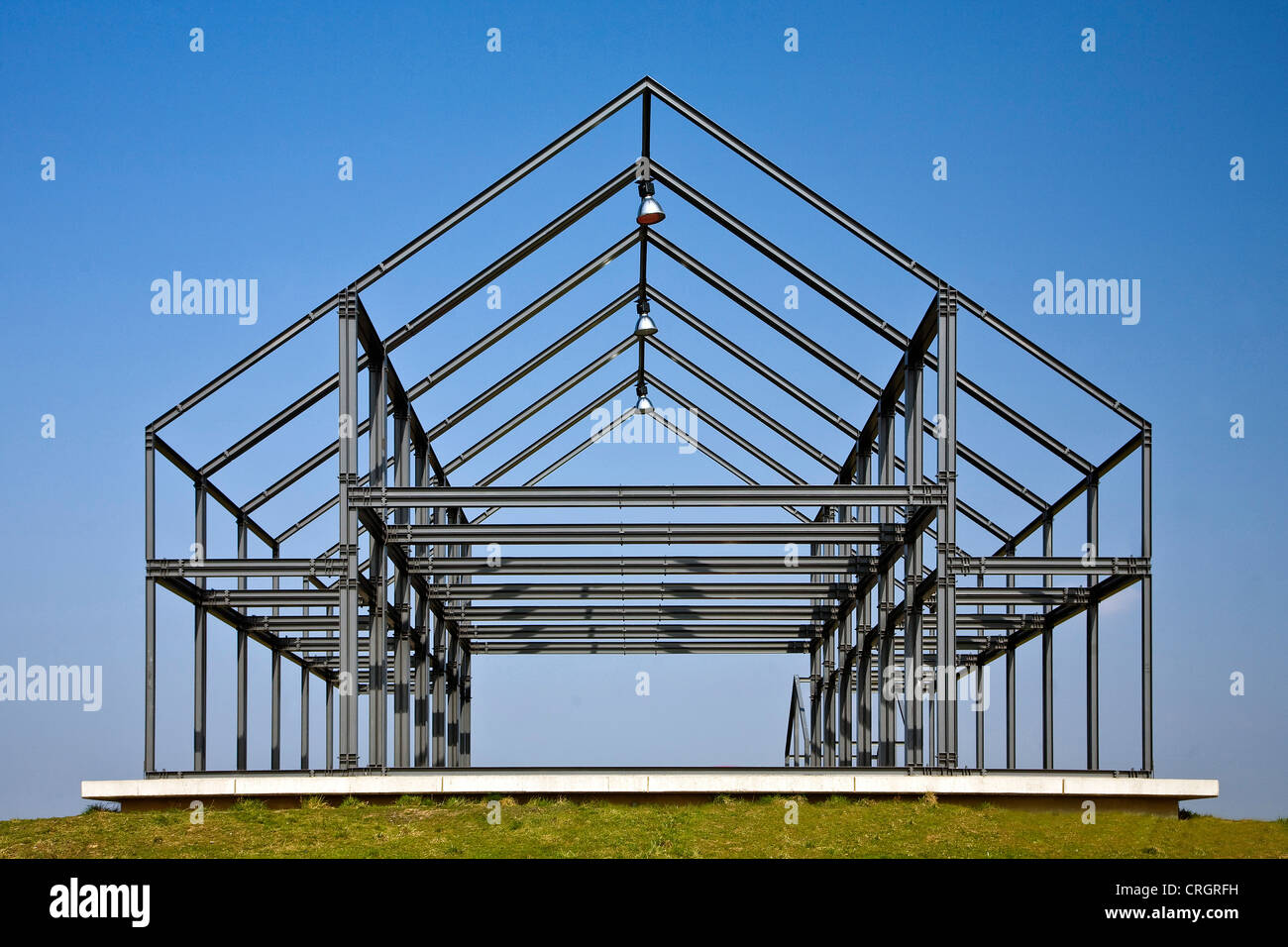modern artwork in the form of a house on Norddeutschland stockpile, Germany, North Rhine-Westphalia, Ruhr Area, - Stock Image