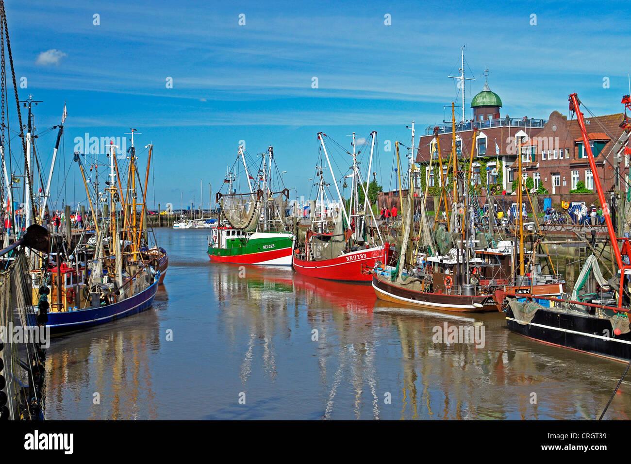 Neuharlingersiel - Harbour, Germany, Lower Saxony, East Frisia - Stock Image