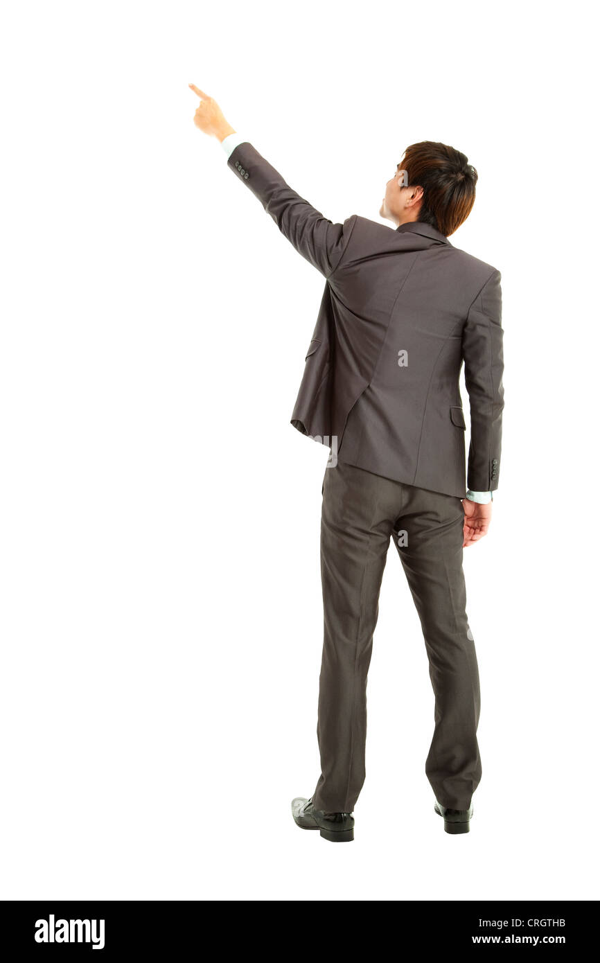 rear view businessman finger pointing - Stock Image