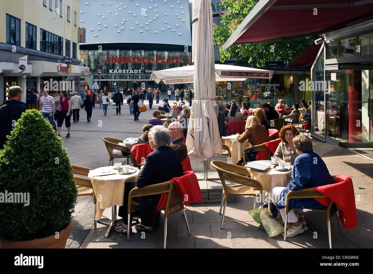shopping mile with sidewalk cafe, Germany, North Rhine-Westphalia, Ruhr Area, Essen - Stock Image