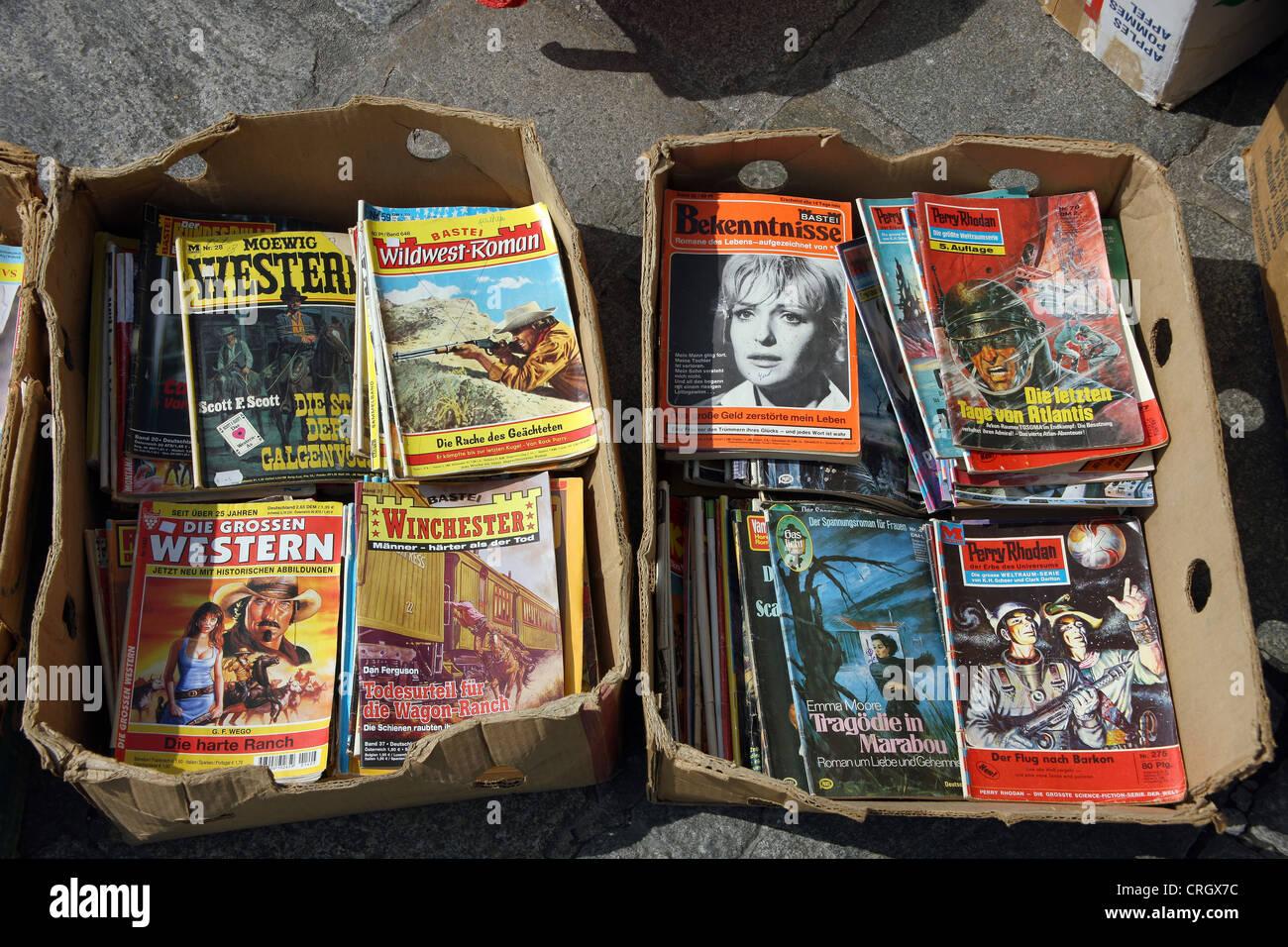 Flea Market, Wild West novels - Stock Image