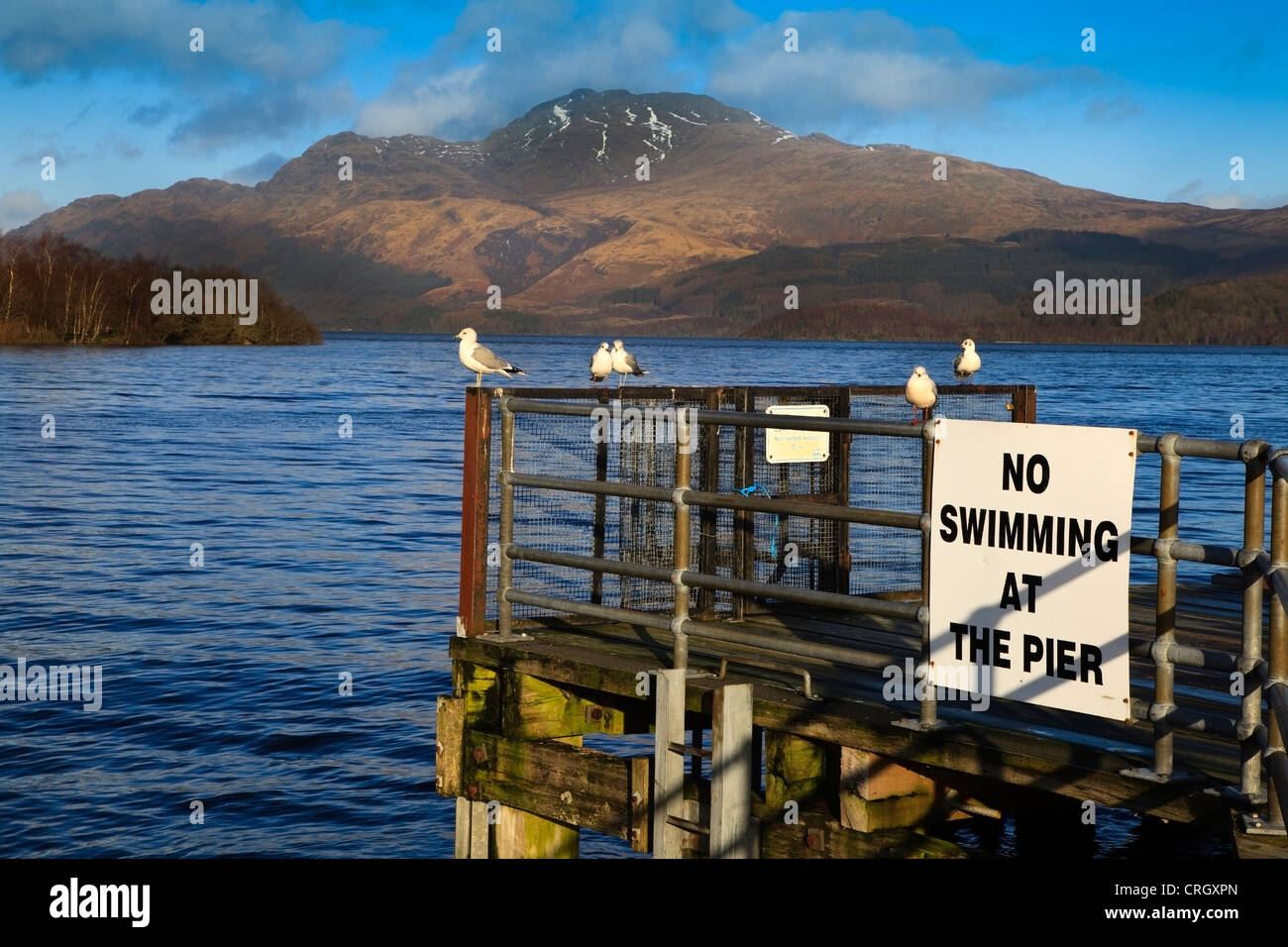 View of Ben Lomond from the pier at Luss, Loch Lomond, Scotland, UK, Great Britain Stock Photo