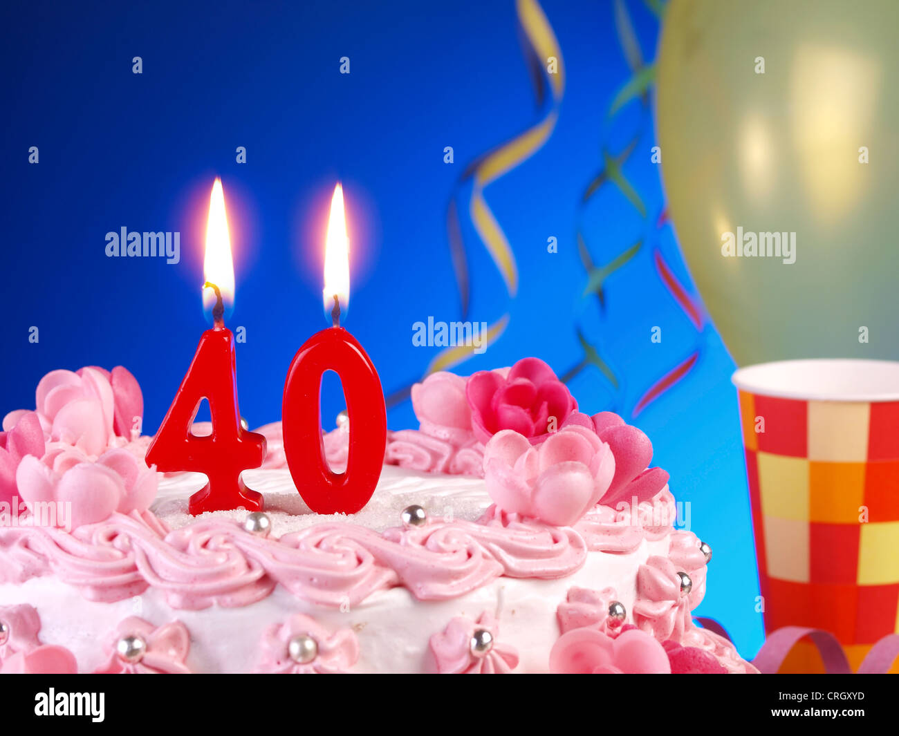 Birthday Anniversary Cake With Candles Showing Nr 40 Stock Photo