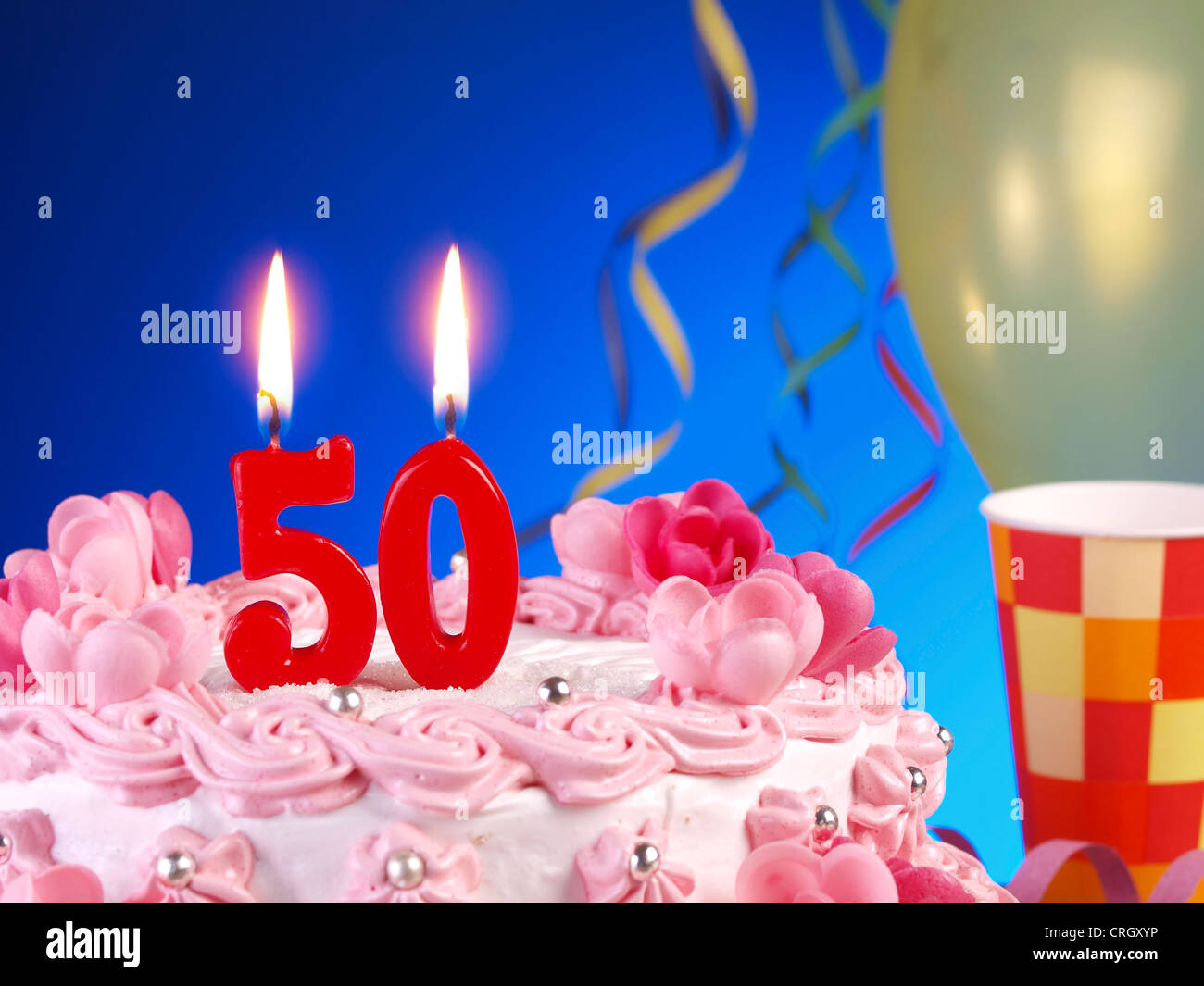 Birthday Cake Candles Number Fifty Stock Photos Birthday Cake