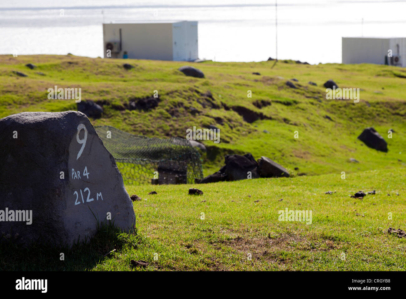 Sign on the Par 4 9th hole at the golf course on Tristan da Cunha - Stock Image