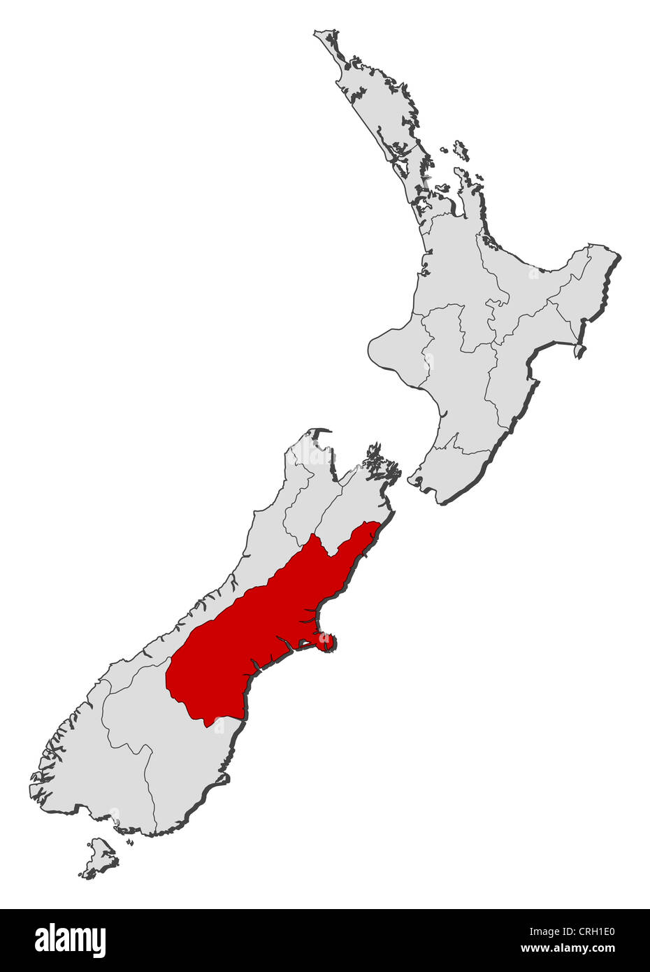 Political Map Of New Zealand.Political Map Of New Zealand With The Several Regions Where Stock