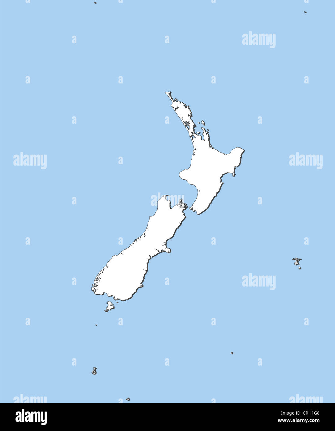 Political map of New Zealand with the several regions Stock Photo ...