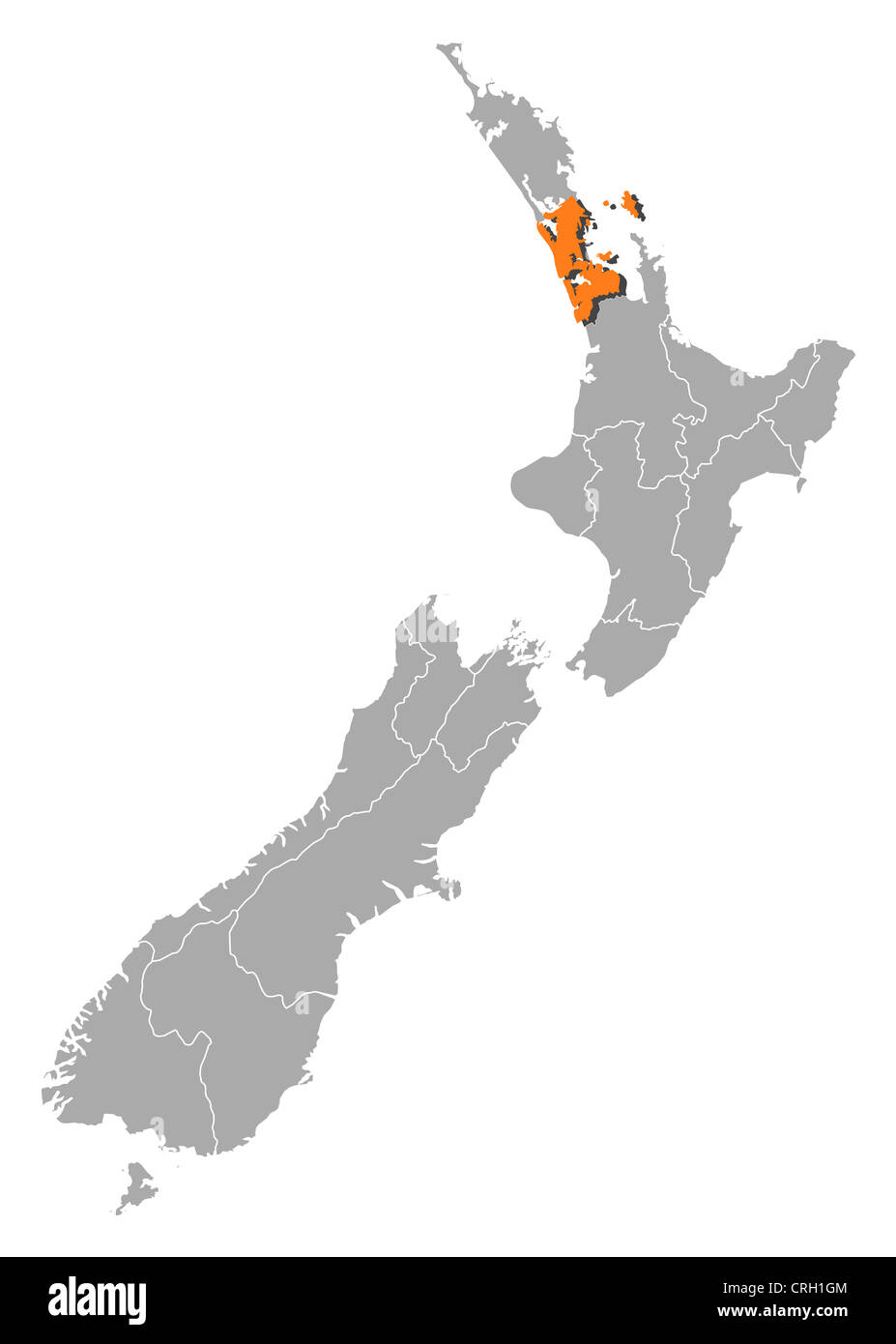New Zealand Regions Map.Political Map Of New Zealand With The Several Regions Where Auckland