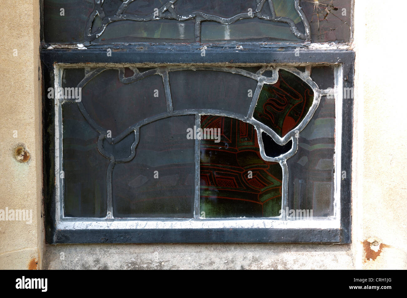 Repaired stained glass, Holy Trinity Church, Hatton, Warwickshire, UK - Stock Image