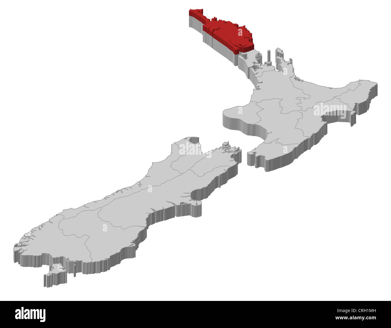 Northland New Zealand Map.Political Map Of New Zealand With The Several Regions Where