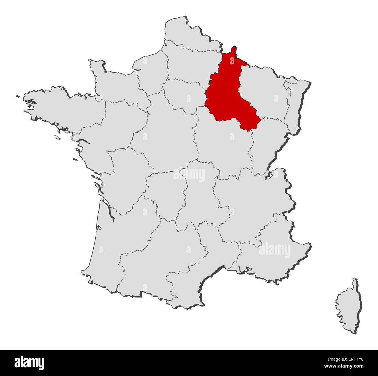 Political map of france with the several regions where stock photo political map of france with the several regions where champagne ardenne is highlighted gumiabroncs Images