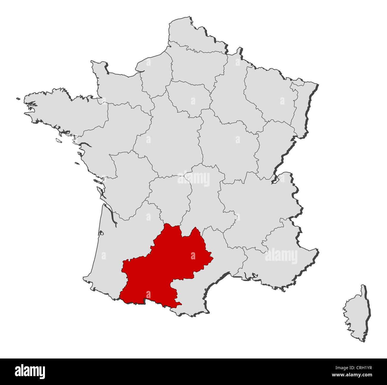 Political Map Of France With The Several Regions Where Midi Pyrenees Stock Photo Alamy