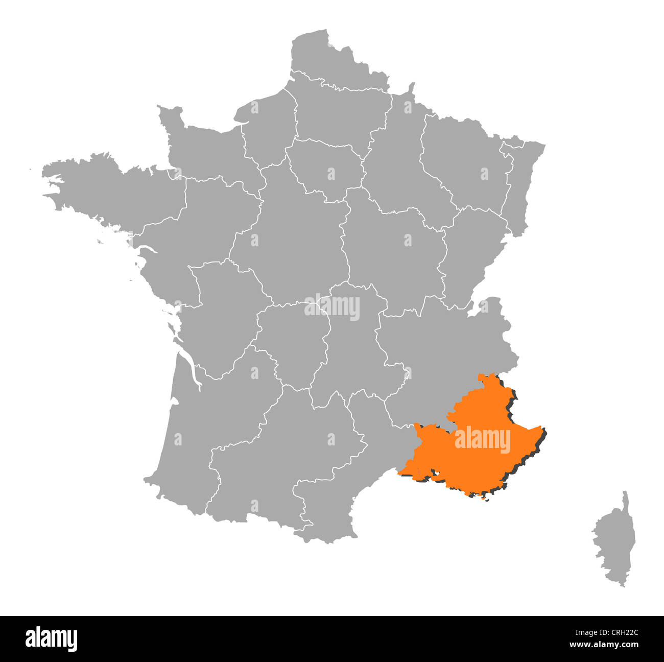 Political Map Of France With The Several Regions Where Stock Photo
