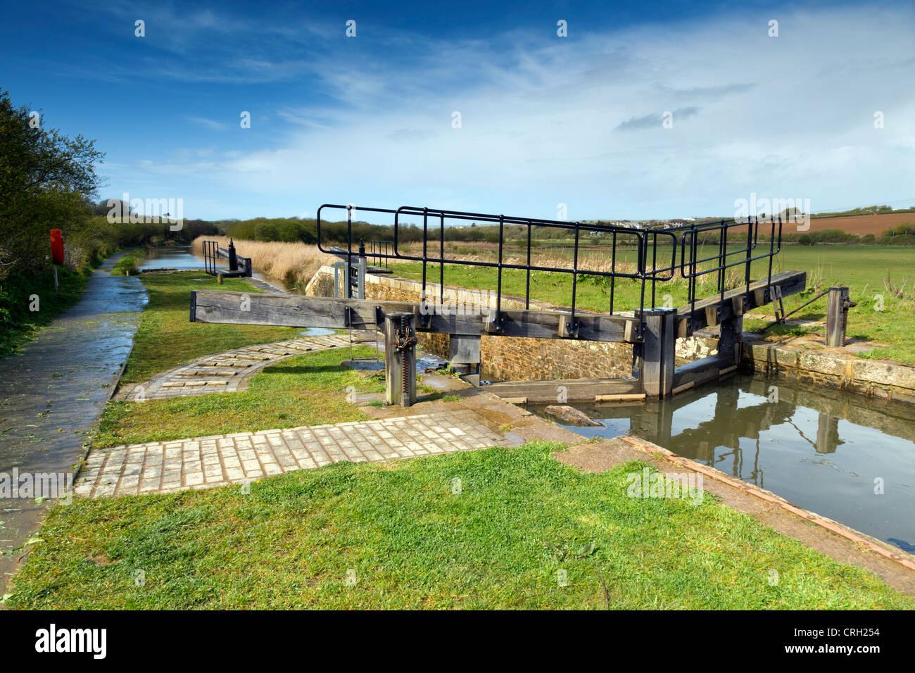 Bude Canal; Footpath; Lock Gates; Cornwall; UK - Stock Image