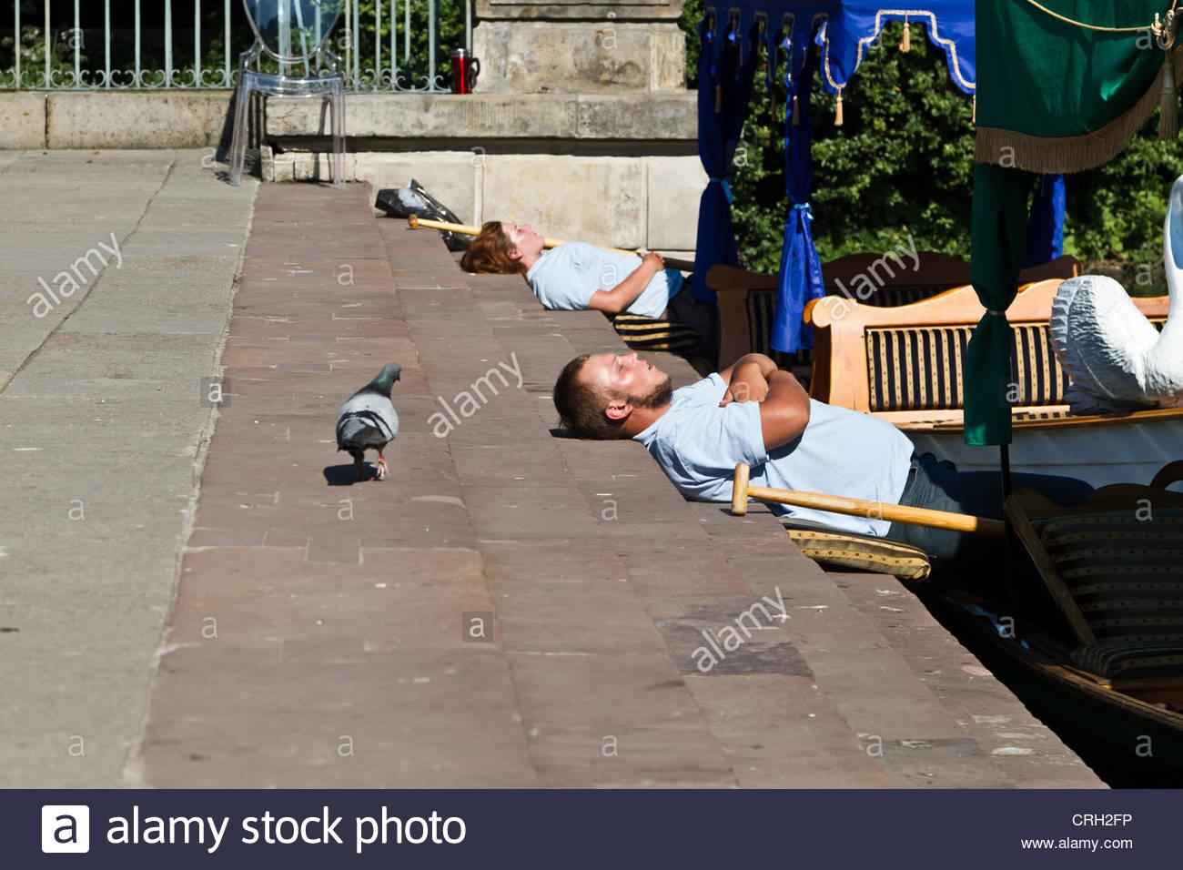 Gondolier during a short break in Warsaw, Poland - Stock Image