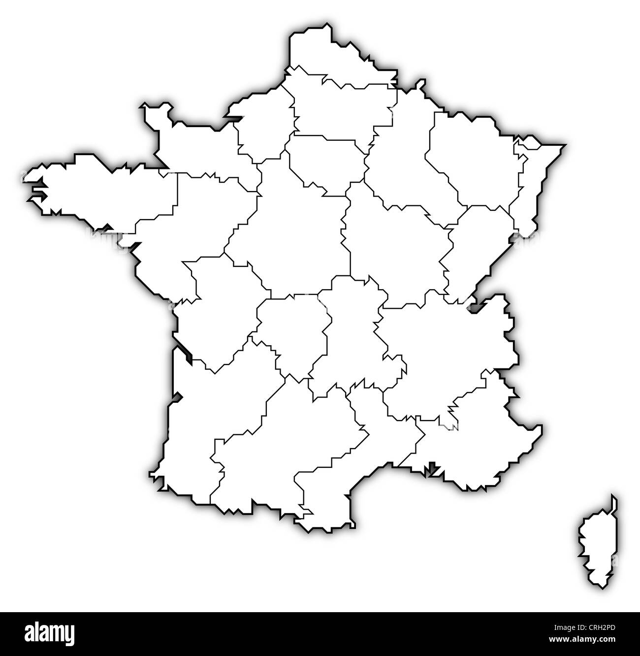 Political Outline Map Of France.Political Map Of France With The Several Regions Stock Photo